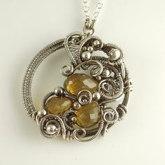 Cognac Quartz and Sterling Silver Wire by SamBraundJewellery, £300.00