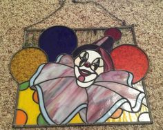 Tiffany Style Stained Glass Window Panel Clown | eBay