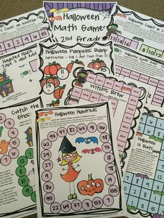 Colored Halloween board games for second grade from   Halloween Math Games Second Grade by Games 4 Learning $