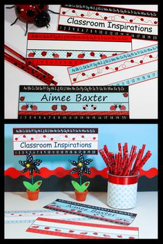 Freebie~ Four different matching name plates. www.ClassroomInspirations.com