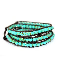 Turquoise Beaded Leather Three-Wrap Bracelet | zulily
