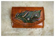 Custom Leather Belt Pouch with Peacock Design  by AppaloosaLeather