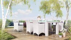 amanda sada kresiel  rapallo stol 200 cm z umeleho ratanu biela 1