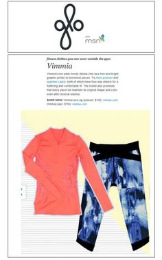 Feature on glo: Vimmia Lace Zip Pullover in Sunset and Vimmia Bliss Capri in Blue Crush. Shop at vimmia.myshopify.com