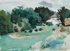 """Landscape with House, Southampton,"" Fairfield Porter, watercolor, 11 x 15 private collection. Watercolor Landscape, Landscape Paintings, Watercolor Art, Landscapes, Large Painting, Painting & Drawing, Fairfield Porter, Impressionist Art, Global Art"