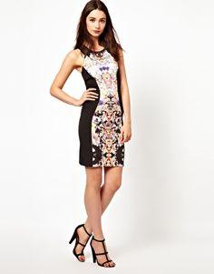Image 4 ofA Wear Floral Panel Bodycon Midi Dress
