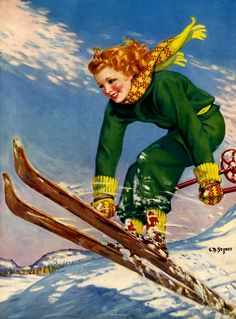 Vintage ski illustration by Ellen Barbara Segner