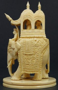 INDIAN CARVED IVORY FIGURE OF ELEPHANT w/ HOWDAH