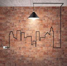 10 Tips How To Build A Lightweight House Decoration Design backstein-tapete-wandgestaltung-industrial-design-industrielampe-kabel-stadt-silhouette-steckdose The Best of inerior design in Deco Design, Wall Design, House Design, Brick Design, Design Design, Loft Design, Urban Design, Deco Luminaire, Diy Casa