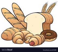 Illustration about Vector illustration of breads set. Illustration of meal, baguette, grain - 40453961 Bakery Logo, Logo Restaurant, Logo Panaderia, Cupcake Coloring Pages, Ramadan Gifts, Instagram Frame, Pencil And Paper, Aesthetic Stickers, Colorful Drawings