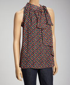 Take a look at this Black Bright Dot Sleeveless Top by Basically Me on #zulily today! $30 !!