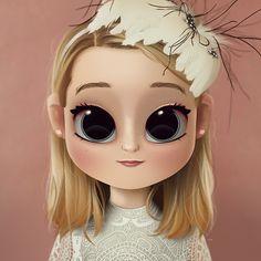 Cartoon, Portrait, Digital Art, Digital Drawing, Digital Painting, Character Design, Drawing, Big Eyes, Cute, Illustration, Art, Girl, McKenna, Grace, Gifted, Blonde