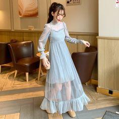 ワンピースレディース|10代·20代·30代人気韓国ファション通販|安い海外ブランド - Dwstyle Girls Fashion Clothes, Girl Fashion, Fashion Dresses, Womens Fashion, Cute Dresses, Vintage Dresses, Korean Dress, Princess Outfits, Ulzzang Fashion
