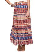 Maxi skirt features an intricate print composed of paisley, flowers and geometric shapes. Elasticized waistline. Wide ruffle hem. Woven. Lightweight. Fully lined.  - 19' approx. length from waist to hem, 25' waist  - Measured from Small  - 100% cotton  - Machine wash, line dry  - Imported