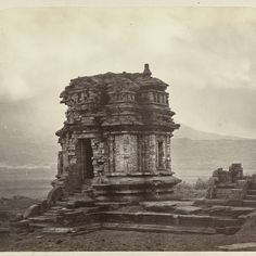 Candi Gatotkaca, general view with staicase projection and entrance (west). Dieng plateau, Wonosobo district, central Java province 8th - 9th century., Isidore van Kinsbergen, 1864 - Rijksmuseum