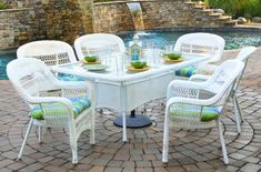 Portside all white patio dining set by Tortuga.