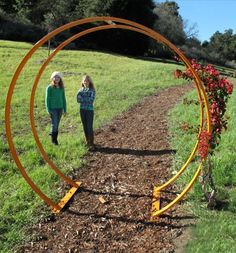 Tunnel Trellis-With PVC & wire for plants but would also make excellent trail course obstacle with plastic on it.