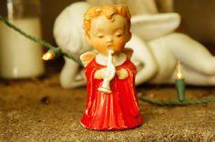 Vintage 50s Porcelain angel Candlestick Holder by SycamoreVintage