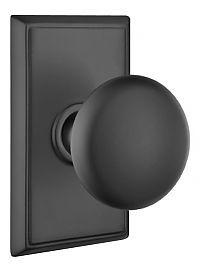 Emtek Products, Inc. 8521-P-US19 - Emtek Providence Forged Brass Door Knobset w/Rectangular Rosette (Dummy Set - Flat Black) - The Hardware Hut