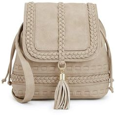 ShoeDazzle Bags Colby Womens Beige ❤ liked on Polyvore featuring bags, backpack, beige, handbags, wallets & cases, tassel bag, backpack crossbody bag, brown bag, crossbody backpack and beige crossbody bag