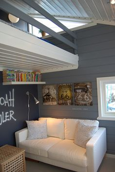 Take advantage of high ceilings in a small family room - building a small loft space can practically add an extra room!