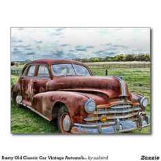 Rusty Old Classic Car Vintage Automobile Postcard SOLD on Zazzle