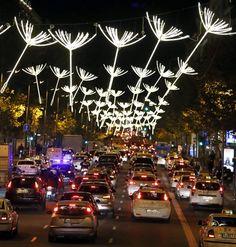 Calle Serrano de Madrid iluminada, Navidad 2015