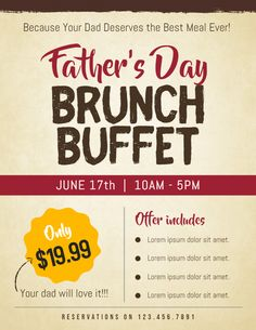 Fathers day sale coupon discount poster flyer template papelera fathers day brunch invitation flyer template design stopboris Choice Image