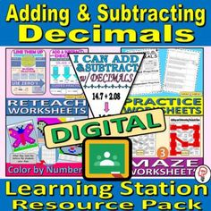DIGITAL BUNDLE - Adding and Subtracting Decimals - Learning Station Resource Pac