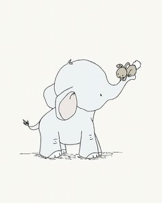 Elephant and Bunny Hold On Tight - Nursery Art
