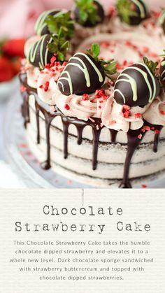 Chocolate Strawberry Cake Strawberry Butter, Chocolate Strawberry Cake, Strawberry Topping, Chocolate Sponge, Chocolate Dipped Strawberries, Strawberry Recipes, Chocolate Cake, Cake Recipes, Muffin Recipes