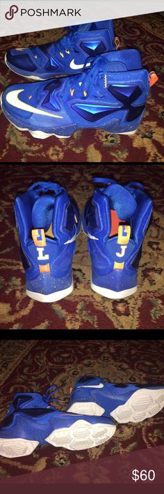 Men's Lebron XIII Cavaliers 13 Basketball Shoes Lebron James XIII Cavaliers 13 Team Basketball shoes - barely worn. Excellent Condition!  100% Authentic - comes with original box.  Off center laces enhance support during sharp cuts on court.  Rubber sole.  Very sharp looking shoes!! Nike Shoes Athletic Shoes