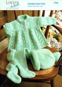 PDF Baby Knitting Pattern Layette Pram Set Matinee Coat