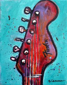 Fender Guitar ORIGINAL PAINTING Pop Art Portrait Acrylic On Canvas Colorful Music Art Musician Signed COA Venus