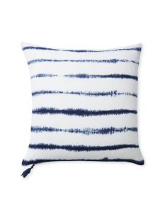 Capitola Stripe Pillow Cover via Serena & Lily   Created using the ancient technique of Japanese shibori, this fabulous hand tie-dyed look is a true statement piece in natural linen. We love how the modern exposed zipper and playful tassel create unexpected contrast.