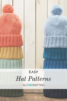 For most knitters, hats are the first truly exciting pattern to knit. After potentially months of knitting plain old rectangles in various stitches, in the form of dishcloths, <a… Knit Hat Pattern Easy, Beanie Pattern Free, Baby Hat Knitting Pattern, Baby Hats Knitting, Free Knitting, Beginner Knitting Patterns, Knitting Machine Patterns, Knitting For Beginners, Knitting Designs