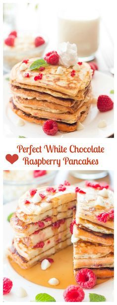 Perfectly fluffy, no fail pancakes, stuffed with white chocolate chips and juicy red raspberries. Makes for a yummy valentines breakfast.