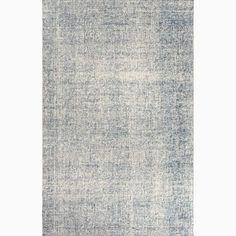 Handmade Ivory/ Blue Wool Easy Care Rug (8 x 10)