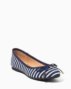 Maryann Striped Bow Flats   Fashion Shoes - Nautical Chic   charming charlie