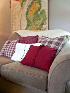 DIY Plaid Shirt Pillows - Inspiration DIY