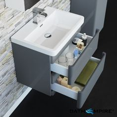 Denver Gloss Grey Built In Basin Drawer Unit - Wall Mounted Wall Hung Bathroom Vanities, Bathroom Vanity Units, Wall Hung Vanity, Bathroom Furniture, Small Bathroom, Bathroom Ideas, Bathrooms, Basin Vanity Unit, Units Online