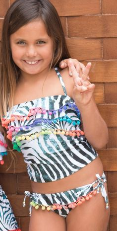 6b9c7a6060 PilyQ 2015 Girls Tanzania - Two tankini (Sold in a set) - Pom Pom detail -  Squareneck - Over the shoulder straps that criss cross and ties at the back  ...