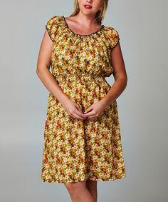 Look at this #zulilyfind! Berry & Orange Floral Peasant Dress - Plus #zulilyfinds