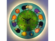 Sheep Lighted Wall Clock, Silent, LargeGlass paiting, Kids Wall Clock,  Happy Sheep Decor, Animal clock