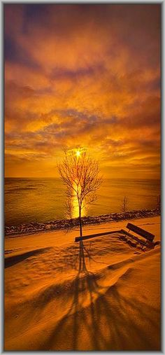 AMAZING WINTER SUNSET #by Phil~Koch on flickr.com #snow sun sunset red