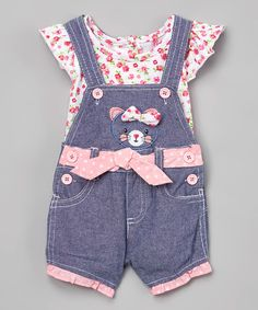Pink Kitten Angel-Sleeve Shortalls - Infant #zulily #zulilyfinds