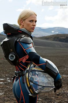 Charlize Theron portrays the role of ''Meredith Vickers'' in the film '' Prometheus'' ''Προμηθέας'' a science fiction film.
