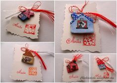 little houses martisor charms - Chichiridiche Little Houses, Advent Calendar, Arts And Crafts, Gift Wrapping, Christmas Ornaments, Holiday Decor, Charms, Gifts, Inspiration