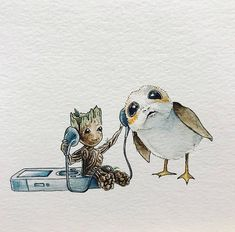 Groot from Guardians of the Galaxy and Star Wars Porg