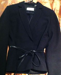 DKNY CITY BLACK SPRING JACKET ATTACHED LEATHER BELT LADIES SIZE 8  $9.99